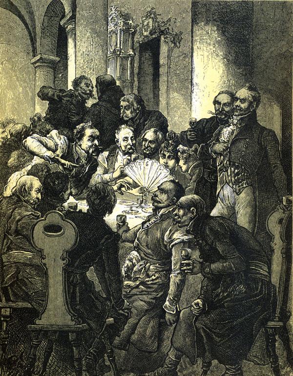 Spod ramion wytknął palce i długie paznokcie, / Przedstawiając dwa smycze chartów tym obrazem.