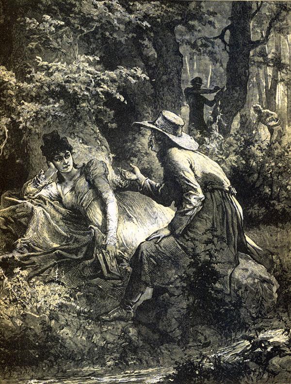 Pan Sędzia... / Schyliwszy się i ręce obmywszy w strumieniu, / Usiadł przed Telimeną na wielkim kamieniu.