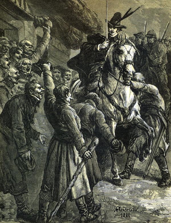 'Wiwat Hrabia!' On wjeżdżał na folwark Maciejów, / Sam zbrojny, za nim zbrojnych dziesięciu dżokejów.