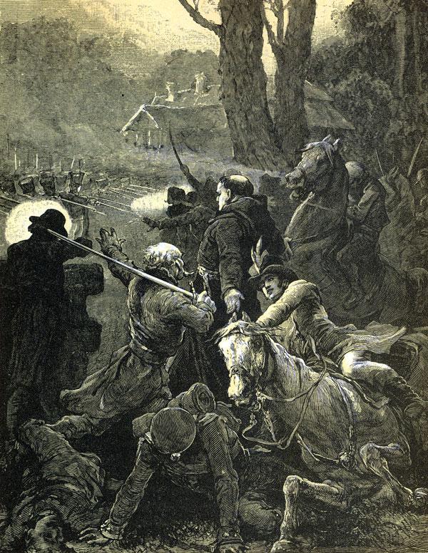 Padł koń Hrabi, spadł Hrabia; Klucznik krzycząc bieży / Na ratunek... / Robak był bliższy, Hrabię ciałem swym zakrywa...