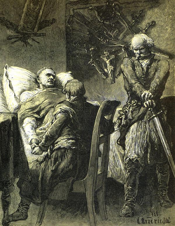 Sędzia spełnił Robaka rozkazy / I usiada na łóżku przy nim; a Gerwazy / Stoi, łokieć przytwierdza na główni rapiera...