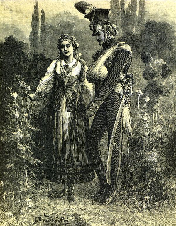 ... wśród pączków barwistego maku / Stał ułan jak słonecznik w błyszczącym kołpaku / Strojnym blachą złocistą i piórem koguta; / Przy nim dziewczę, w zielonej sukience jak ruta...