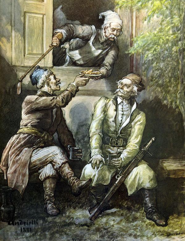 Wojski przez okno kuchni, ponad starców głowy / Wytknąwszy głowę, milczkiem słuchał ich rozmowy...