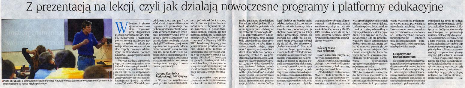 Rzeczpospolita, 25 kwietnia 2012 (dodatek 'Edukacja z przyszłością')