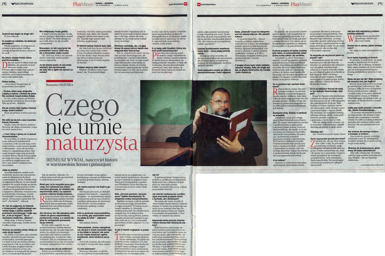 Rzeczpospolita, 30 czerwca - 1 lipca 2012 (dodatek 'Plus Minus', nr 26[1009])