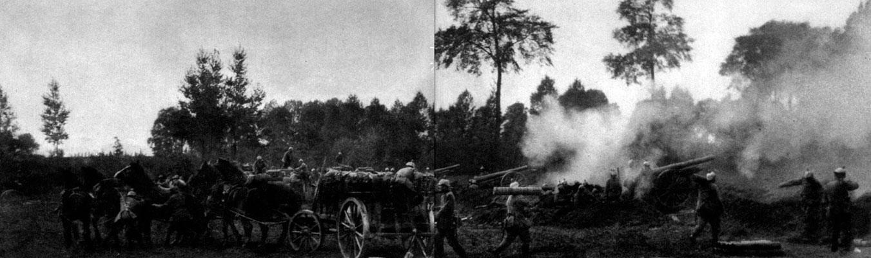 Armaty niemieckie prowadzą ostrzał pozycji francuskich w okolicach Paryża. Zachłyśnięci tempem swej ofensywy Niemcy doszli w ostatnich dniach sierpnia do przekonania, że obrona francuska nie jest zdolna do działania,a zdobycie Paryża jest przesądzone. Dowodzący 1 armią niemiecką (nacierająca na lewym skrzydle ofensywy) generał Aleksander von Kluck zmienia nawet kierunek natarcia, rezygnuje z okrążania Paryża i kieruje się na południe. Siły niemieckie forsują Marnę, zajmują Reims i zbliżają się do Paryża od zachodu, co zagraża metropolii, ale jednocześnie odsłania lewe skrzydło wojsk niemieckich, narażając je na atak Francuzów.