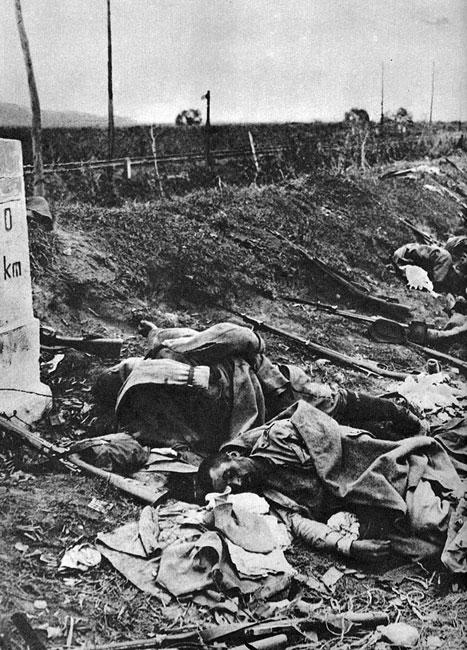 Żołnierze rumuńscy polegli na granicy swego państwa. Po spektakularnych sukcesach Niemców, Austriaków i Bułgarów na Bałkanach w początkach 1916 roku, jedyną enklawą pozostająca pod aliancką kontrola na południe od Dunaju był przyczółek salonicki zajęty w październiku 1915 roku, zresztą z pogwałceniem neutralności Grecji. Stacjonowała tam aliancka, koalicyjna Armia Wschodu (Orientu) dowodzona przez generała Maurice'a Sarrail. Podejmowane przez nią próby ofensyw na Serbię i Bułgarię nie przynosiły jednak latem 1916 roku większych efektów. W tej sytuacji rola bałkańskiego języczka u wagi przypadała Rumunii. Już 5 sierpnia 1914 roku ogłosiła ona neutralność. Skuszona ofertą zdobycia - kosztem Austro-Węgier - Siedmiogrodu i Bukowiny, wystąpiła jednak ostatecznie po stronie Ententy. 27 sierpnia 1916 roku włączyła się do wojny. Do połowy września 400 tys. wojska rumuńskie zajęły południowo-wschodnią część Siedmiogrodu. Jednocześnie jednak na Rumunów spadło równoległe uderzenie od południa i zachodu. Wojska rumuńskie zaczęły ponosić ciężkie straty. Na początku grudnia zajęty został Bukareszt.
