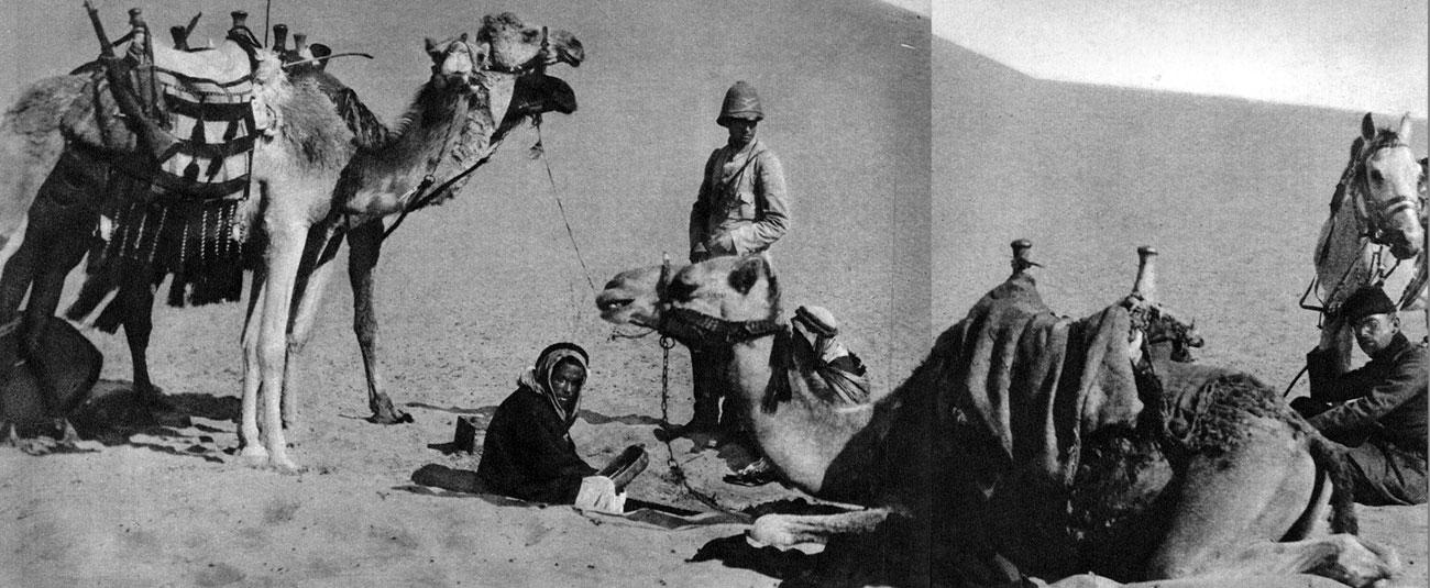 Patrol niemiecko-turecki na pustyni. Przystąpienie Turcji do wojny 29 października 1914 roku oznaczało utworzenie trzech nowych frontów. Na Kaukazie toczone były walki z Rosjanami. W Mezopotamii (na terenie dzisiejszego Iraku) i na Półwyspie Synaj przeciwko Anglikom. Dowództwo brytyjskie, aby udaremnić próby opanowania przez Turków strefy Kanału Sueskiego, przeprowadziło w październiku 1914 roku operacje desantową w Zatoce Perskiej. W 1915 roku korpus ekspedycyjny generała Charlesa Townshenda rozpoczął marsz wzdłuż Tygrysu i Eufratu na Badgad. 22 listopada armia osmańska pokonał a Anglików pod Salman Pak i zmu-siła ich do odwrotu. Wycofujące się wojska Townshenda schroniły się w zdobytym uprzednio Kut al.-Amara. Rozpoczęło się oblężenie twierdzy. Wkrótce do Mezopotamii dotarły oddziały niemieckie, mające wspomóc Turków.