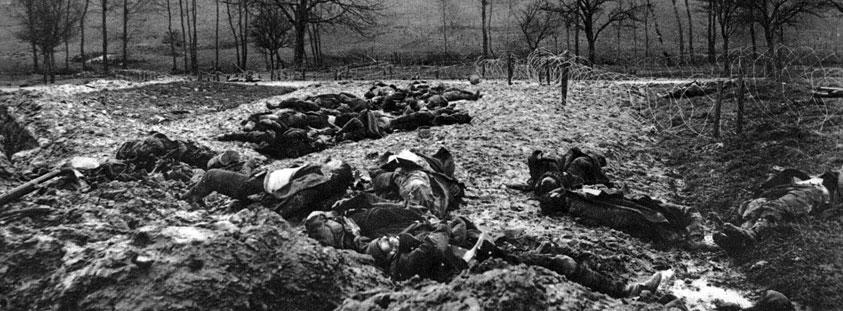 Francuzi polegli przed linią niemieckich zasieków. Rozkazy dowódców zmuszały żołnierzy do podejmowania wciąż nowych ataków na pozycje przeciwnika. Skutek ich był mierny, powodowały za to potworne straty w szeregach nacierających. Zmasakrowane, rozkładające się zwłoki zalegające pas ziemi niczyjej stale towarzyszyły walczącym, stanowiąc świadectwo sposobu prowadzenia walki.