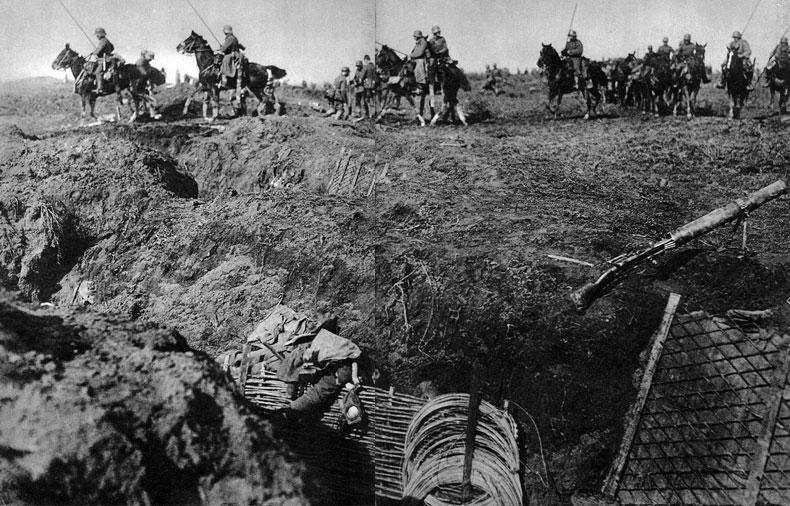 Kawaleria niemiecka po zdobyciu alianckich okopów - wiosna 1918 roku. Takie widoki należały w końcowym okresie wojny do rzadkości. Jazdę wprowadzano do walki na Froncie Zachodnim wówczas, gdy podjęta ofensywa rzeczywiście wypierała przeciwnika z zajmowanych przezeń pozycji.