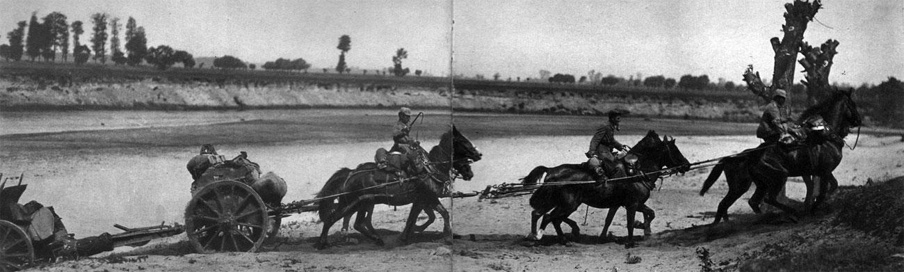 Niemiecki zaprzęg artyleryjski latem 1915 roku. Rodzajem broni, który długo nie mógł się obyć bez wykorzystywania koni jako podstawowej siły pociągowej, była artyleria. Szczególnie na wschodzie, gdzie zmasowane ofensywy wymagały znacznej mobilności wojsk, konie stale towarzyszyły bateriom armat i haubic.