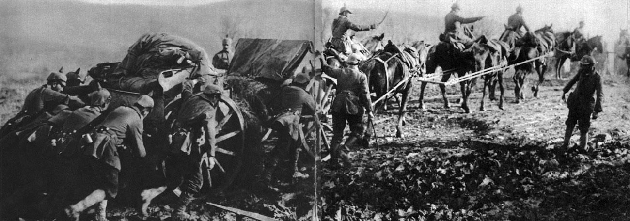 Tabory niemieckie na serbskich bezdrożach. Zwierzęta były nieodzowną siłą pociągową wszędzie tam, gdzie nie była sobie w stanie poradzić nowoczesna, choć bardzo jeszcze niedoskonała technika...