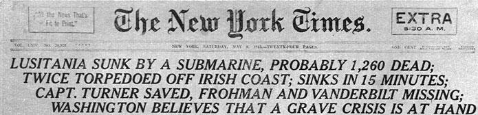 Zatopienie 'Lusitanii'. Krzyczący nagłówek 'New York Timesa' donosi o zatonięciu wielkiego statku pasażerskiego 'Lusitania', storpedowanego 7 maja 1915 roku przez niemiecką łódź podwodną u wybrzeży Irlandii. Podana przez dziennik liczba ofiar nie jest ścisła. W rzeczywistości zginęło 1198 osób - w tym 128 obywateli amerykańskich. Tragedia ta była nader brzemienna w skutki. Poważnemu zaostrzeniu uległy stosunki amerykańsko - niemieckie. Cesarz Wilhelm, pod naciskiem kanclerza Theobalda von Bethmanna Hollwega polecił znaczne ograniczenie wojny podwodnej. Odtąd U-booty nie mogły atakować neutralnych jednostek handlowych i wszelkich, nawet alianckich, statków pasażerskich. Sprawa 'Lusitanii' wydaje się być jednak bardziej złożona... Ów wielki liniowiec pasażerski zbudowany został w latach 1903 - 1907 z inicjatywy Admiralicji brytyjskiej. Tajne porozumienie z formalnym użytkownikiem - cywilną kompanią 'Cunard' - przewidywało oddanie statku do dyspozycji wojskowych w razie wybuchu wojny. 'Lusitania' była wówczas największym i najszybszym transatlantykiem. Rejs z Anglii do Stanów Zjednoczonych trwał cztery i pół dnia. W 1913 roku jednostka została opancerzona, wyposażona w tuzin 150 mm armat i przystosowana do przewozu amunicji. Tak spreparowany statek miał zapewnić szybki transport materiałów wojennych z Ameryki do Wielkiej Brytanii, jednak dla kamuflażu nadal przewożono na jego pokładzie pasażerów. W ostatni, tragiczny rejs wyruszyło 1257 podróżnych. Nie zraziły ich publikowane w prasie amerykańskiej komunikaty niemieckiej ambasady, informujące o prowadzeniu wojny podwodnej. Zagadkowa była ponadto postawa Admiralicji, kierowanej wówczas przez Winstona Churchilla. Zdając sobie sprawę z niebezpieczeństwa grożącego 'Lusitanii' ze strony polujących na nią niemieckich łodzi podwodnych, nie zapewniono liniowcowi ani należytej ochrony, ani w porę nie nakazano zmiany kursu... Dowodzący okrętem U 20 kapitan Walter Schwieger miał więc 7 maja 1915 roku nader łatwe zadanie. Odpalona