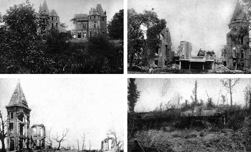 Cztery pory roku... Zamek w Hollebeke we Flandrii ulegał stopniowemu, metodycznemu niszczeniu. Wiele wartościowych, zabytkowych budowli w pobliżu frontu legło w gruzach. Ostrzeliwano je z armat, bombardowano z samolotów, jeżeli tylko w jakiś sposób mogły posłużyć przeciwnikowi.