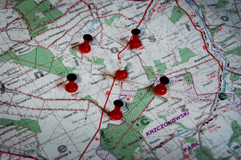Mapa z zaznaczonym Majdanem Kozic Górnych – miejscem desperackiej obrony i śmierci Lalka.