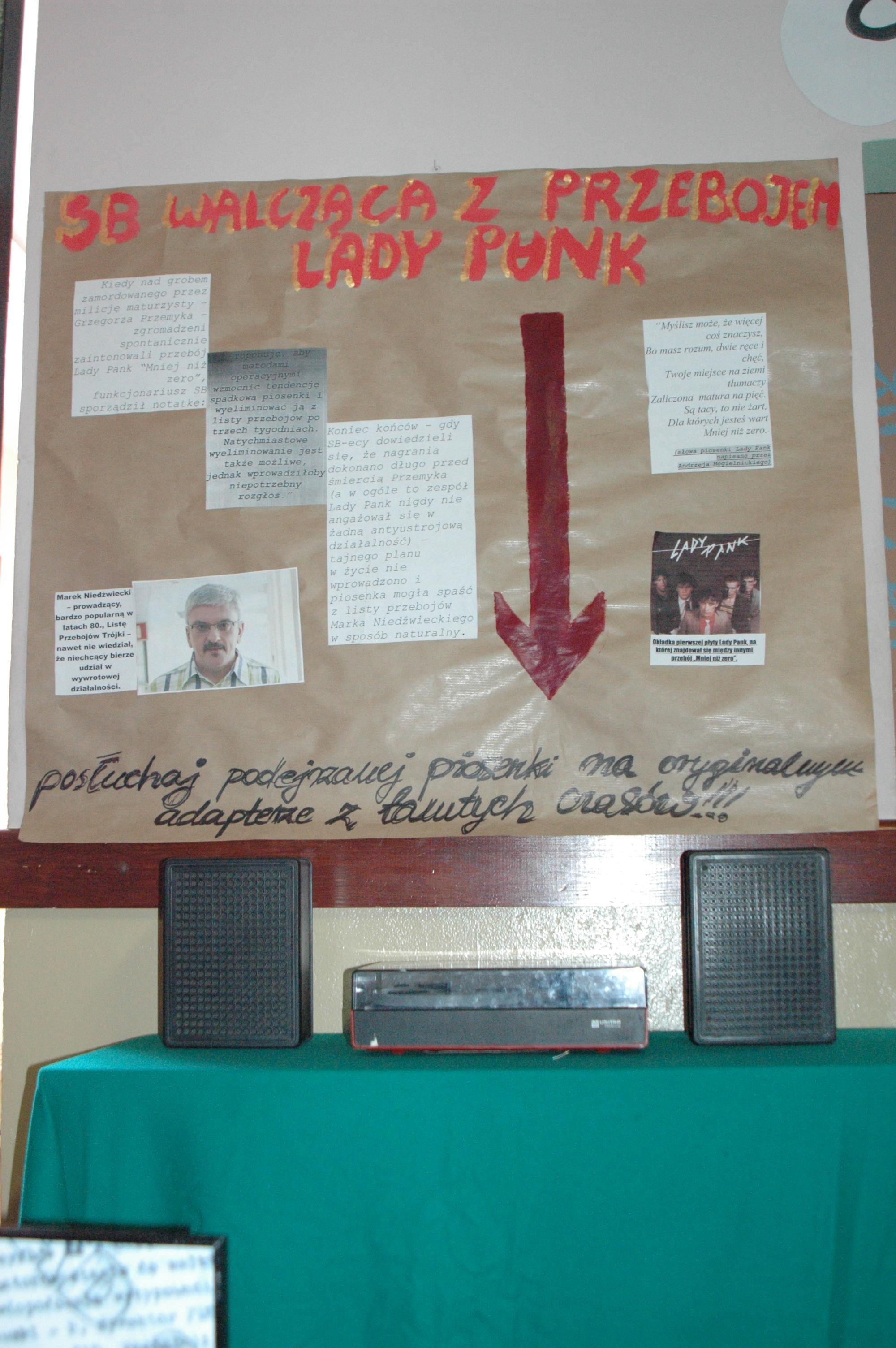 """SB w swojej obsesji zwalczania opozycji potrafiła wpaść w paranoję. W 1983 roku planowała doprowadzić do cichego usunięcia z radiowej Listy Przebojów """"Mniej niż zero"""" - piosenki (bynajmniej nie antykomunistycznego) zespołu Lady Pank, ponieważ spontanicznie zaintonowano ją nad grobem zamordowanego przez milicję Grzegorza Przemyka."""