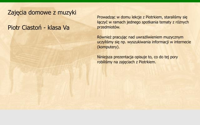 Muzyka - Nauczanie domowe Piotr Ciastoń